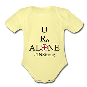 Medical and State Design #INStrong on Organic Short Sleeve Baby Bodysuit - washed yellow