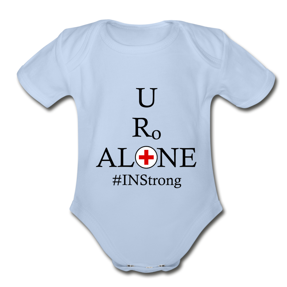 Medical and State Design #INStrong on Organic Short Sleeve Baby Bodysuit - sky