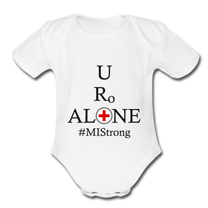 Medical and State Design #MIStrong on Organic Short Sleeve Baby Bodysuit - white