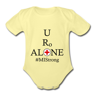 Medical and State Design #MIStrong on Organic Short Sleeve Baby Bodysuit - washed yellow