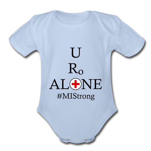 Medical and State Design #MIStrong on Organic Short Sleeve Baby Bodysuit - sky