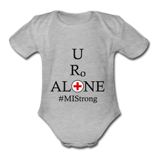 Load image into Gallery viewer, Medical and State Design #MIStrong on Organic Short Sleeve Baby Bodysuit - heather gray