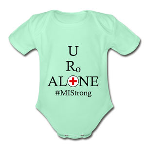 Medical and State Design #MIStrong on Organic Short Sleeve Baby Bodysuit - light mint