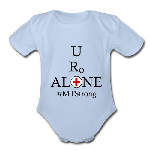 Medical and Staqte Design #MTStrong on Organic Short Sleeve Baby Bodysuit - sky