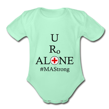 Load image into Gallery viewer, Medical and State Design #MAStrong on Organic Short Sleeve Baby Bodysuit - light mint