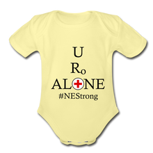 Load image into Gallery viewer, Medical and State Design #NEStrong on Organic Short Sleeve Baby Bodysuit - washed yellow
