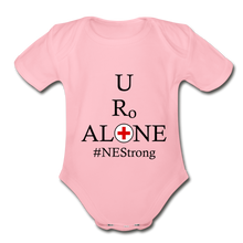 Load image into Gallery viewer, Medical and State Design #NEStrong on Organic Short Sleeve Baby Bodysuit - light pink