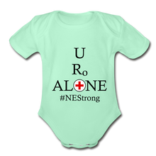 Load image into Gallery viewer, Medical and State Design #NEStrong on Organic Short Sleeve Baby Bodysuit - light mint
