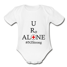 Load image into Gallery viewer, Medical and State Design #NJStrong on Organic Short Sleeve Baby Bodysuit - white