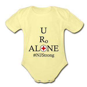 Medical and State Design #NJStrong on Organic Short Sleeve Baby Bodysuit - washed yellow