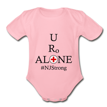 Load image into Gallery viewer, Medical and State Design #NJStrong on Organic Short Sleeve Baby Bodysuit - light pink