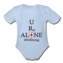 Load image into Gallery viewer, Medical and State Design #NJStrong on Organic Short Sleeve Baby Bodysuit - sky