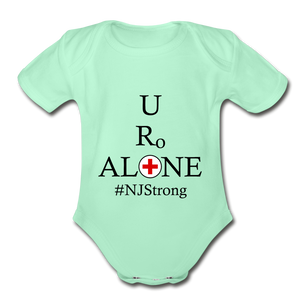 Medical and State Design #NJStrong on Organic Short Sleeve Baby Bodysuit - light mint