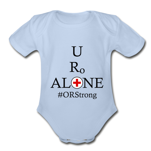 Medical and State Design #ORStrong on Organic Short Sleeve Baby Bodysuit - sky