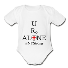 Load image into Gallery viewer, Medical and State Design #NYStrong on Organic Short Sleeve Baby Bodysuit - white