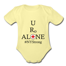 Load image into Gallery viewer, Medical and State Design #NYStrong on Organic Short Sleeve Baby Bodysuit - washed yellow