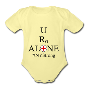 Medical and State Design #NYStrong on Organic Short Sleeve Baby Bodysuit - washed yellow