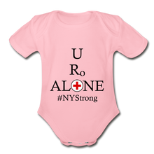 Load image into Gallery viewer, Medical and State Design #NYStrong on Organic Short Sleeve Baby Bodysuit - light pink