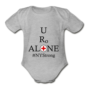 Medical and State Design #NYStrong on Organic Short Sleeve Baby Bodysuit - heather gray