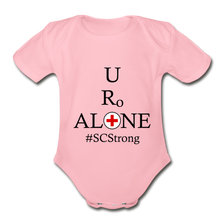Load image into Gallery viewer, Medical and State Design #SCStrong on Organic Short Sleeve Baby Bodysuit - light pink