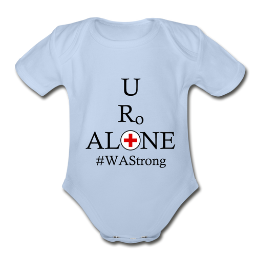 Medical and State Design #WAStrong on Organic Short Sleeve Baby Bodysuit - sky