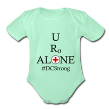 Load image into Gallery viewer, Medical and State Design #DCStrong on Organic Short Sleeve Baby Bodysuit - light mint