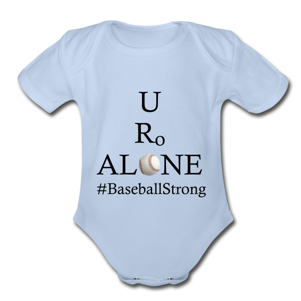 Baseball Design on Organic Short Sleeve Baby Bodysuit - sky