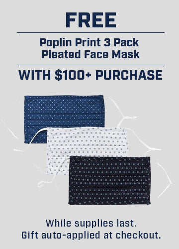 Poplin Print 3 Pack Pleated Face Mask Free with $100+ Purchase