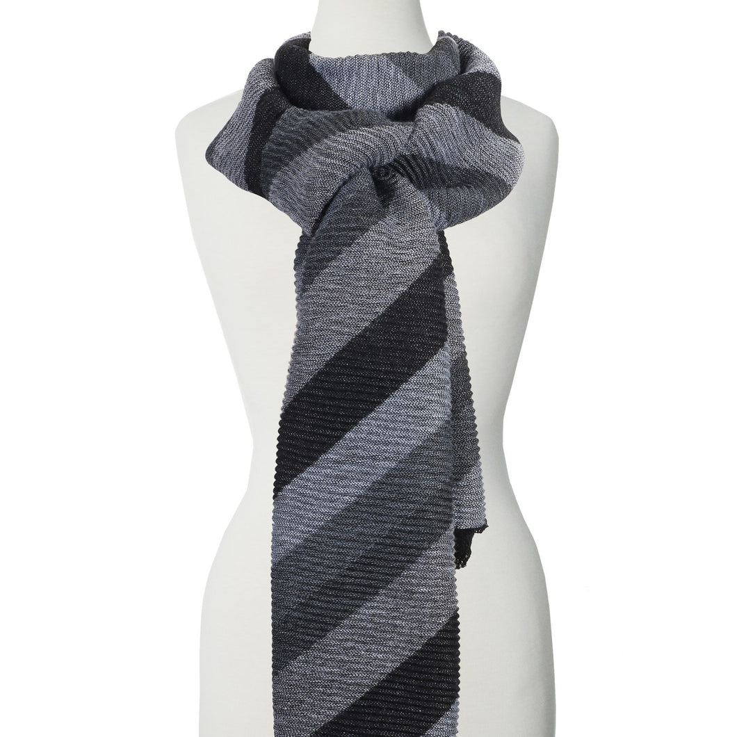 Caracol Grey/Black Striped Scarf