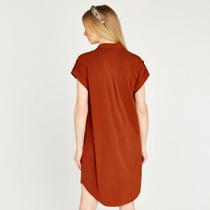 Apricot Sleeveless Utility Dress