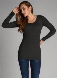 C'est Moi Bamboo Long Sleeve Scoop Neck Top Heather Black