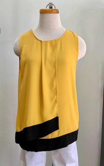 Bali Yellow Pleated Overlay Top
