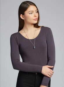 C'est Moi Bamboo Long Sleeve Scoop Neck Top Charcoal