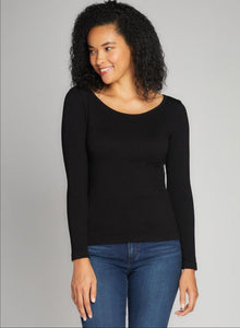 C'est Moi Seemless Ribbed Crew Neck Top - Black