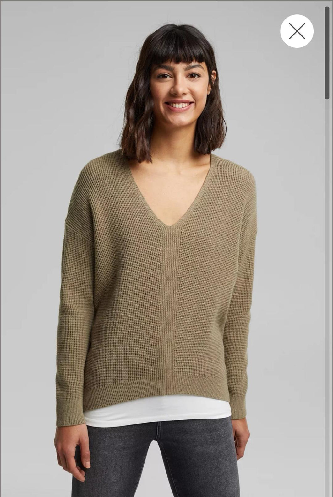 V-Neck Sweater with Rice Grain Texture - Green Khaki