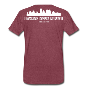 Feed Your Dreams; Starve Your Fears Tee - heather burgundy