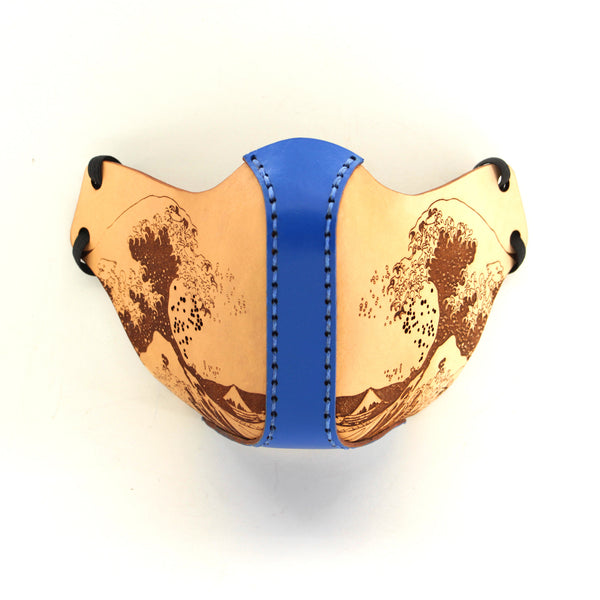 "Leather Face Mask - Customization Available - ""The Great Wave off Kanagawa"""