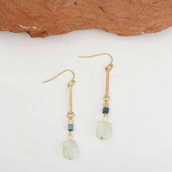 Natural Stone Drop Earrings - Gold
