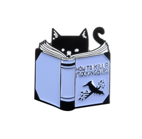 Cat Reading a Book - Enamel Pin