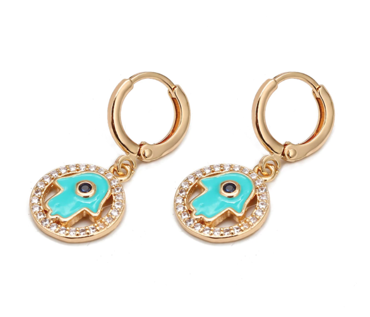 Hamsa Hoop Earrings - Gold