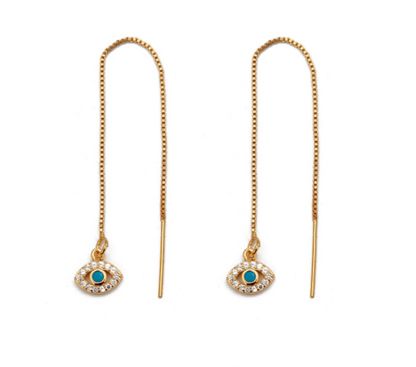 Long Chain Drop Earrings with Drop, Hamsa and Eye - Gold