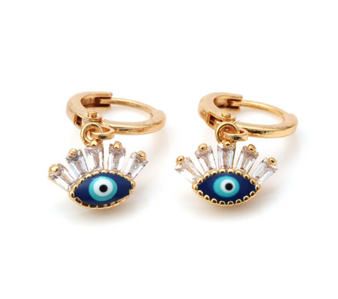 Eye with Baguette Crystals Hoop Earrings - Gold