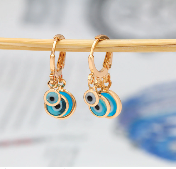 Triple Eye Hoop Earrings - Gold