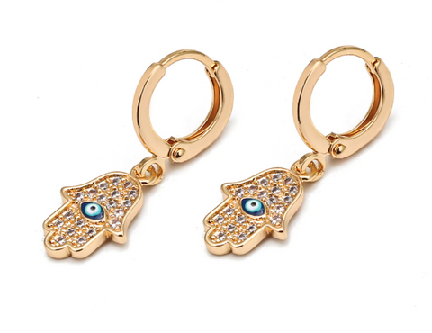 Hamsa Hand with Eye Hoop Earrings - Gold