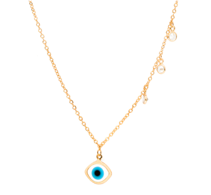 Eye Necklace with Crystals - Gold