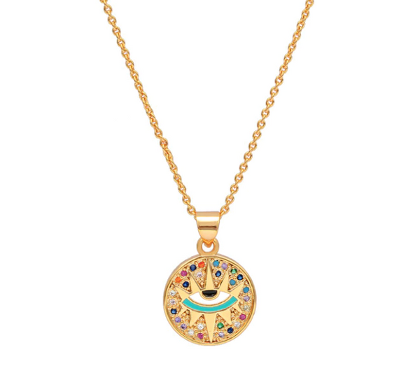 Coin Necklace with an Eye - Gold