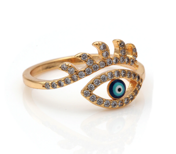 Adjustable Minimal Eye Ring - Gold
