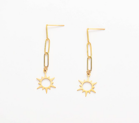 Chain Drop Earrings with Sun - Gold