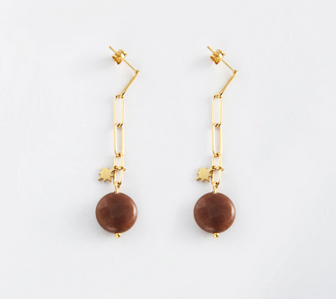 Chain Drop Earrings with Natural Stone - Gold