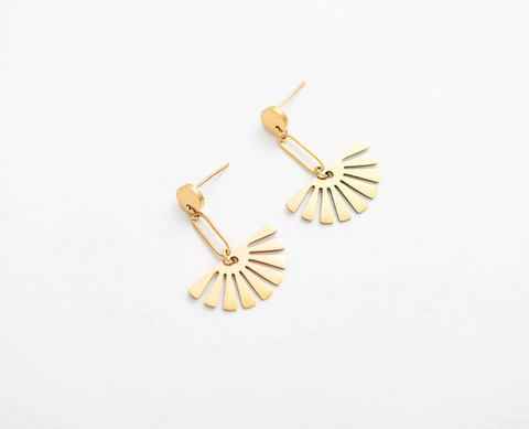 Geometric Leaf Earrings - Gold